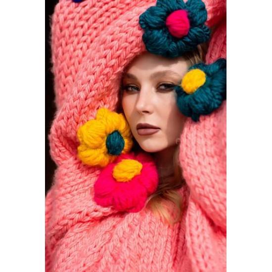 Handmade Special Design Pink Cardigan